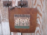 Primitive Country Cottage Chic Cream Wild Flowers Rusty Tin Tile Painting