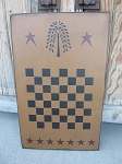 Primitive Colonial Willow and Stars  Wooden Checkerboard 12x18 Game Board