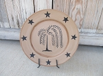 Primitive Willow Tree and Stars Hand Painted Plate
