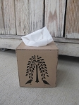 Primitive Hand Painted Willow Tree and Crows Tissue Box Cover with Color Options