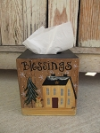 Primitive Winter Saltbox and Snowman Hand Painted Tissue Box with Options