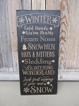 Primitive Winter Typography Hand Stenciled Sign