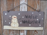 Primitive Snowman with Vintage Button Snowflakes Hand Painted Wooden Sign