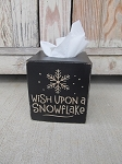 Primitive Wish Upon a Snowflake Hand Painted Tissue Box Cover with Color Choices