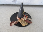 Primitive Halloween Paper Mache Small Witch Hat with Fabric Burlap Berry Tie and Tag with Options
