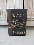 Primitive Halloween Hand Painted Witch Spells and Potions Vintage Book with Key