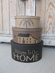 Primitive Welcome to Our Home Saltbox Set of 3 Oval Stack Boxes