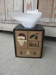 Primitive Hand Painted Christmas Sampler Tissue Box Cover