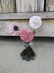 Primitive Country Cottage Light Pink Mix C Flower Group of 3 on Old Faucet Handle Base