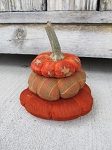 Primitive Fall Autumn Stuffed Large Stacked Pumpkin with Real Dried Stem