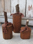 Primitive Autumn Fall Set of 3 Timber Pumpkin Trio