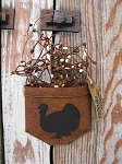 Primitive Turkey Thanksgiving Rusty Tin Hanging Pocket