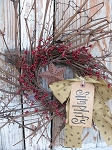 Primitive Twiggy Pip Berry Grapevine Wreath with Rusty Star
