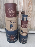 Primitive Americana Uncle Sam 1776 Liberty Bell Hand Painted Set of 7 Round Stack Boxes