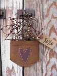 Primitive Heart Valentine Rusty Tin Hanging Pocket