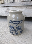 Vintage Julius Edwards Bennington Vermont 1887 Mini Crock Jug with Blue Decoration Japan