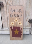 Primitive Country Watering Can with Flowers Hand Painted Sign
