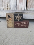 Primitive Winter Blessings Snowman and Snowflake Set of 3 Stacking Blocks