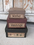 Primitive Winter Blessings Square Set of 3 Hand Painted Stacking Boxes