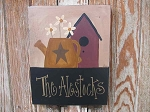 Primitive Hand Painted Personalized Watering Can with Birdhouse Wooden Sign
