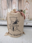 Primitive Burlap Winter Greetings Snowman Light
