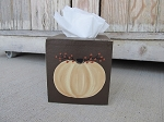 Primitive Autumn Cream Pumpkin and Bittersweet Hand Painted Tissue Box Cover with Color Choices