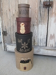 Primitive Let it Snow Set of 4 Round Stacking Boxes
