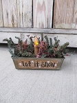 Primitive Winter Season Antique Mini Loaf Pan Light  with Lighting and Saying Options