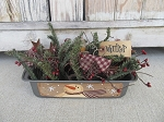 Primitive Winter Snowman Vintage Bread Tin Loaf Pan Light