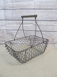 Vintage Farmhouse Primitive Brown Wire Mesh Rectangle Basket with Wooden Handle Grip