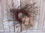 Primitive Twiggy Pip Wreath with TIMER Candle