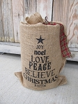 Primitive Burlap Christmas Word Tree Light