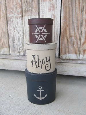 Nautical Beach Rustic Anchor and Ship Helm Set of 3 Oval Stacking Boxes