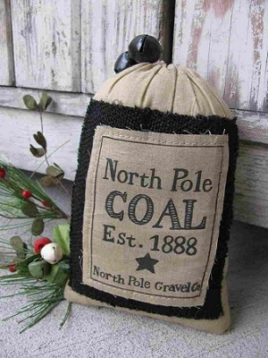 Primitive North Pole Coal Bag with Jingle Bells