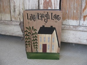 Primitive Saltbox and Willow Tree Hand Painted Vintage Book