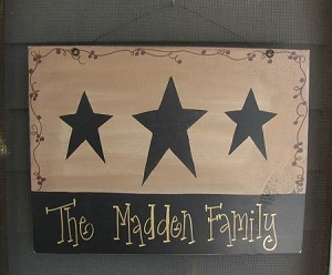 Primitive Triple Star Vine and Berry Personalized Hand Painted Sign