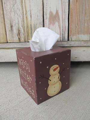 Primitive Winter Snowman and Snowflake Tissue Box-Four Sided