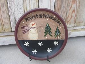 Primitive Winter Snowman and Snowflakes Winter Wonderland Hand ...