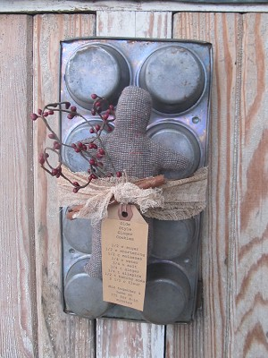 Primitive Antique Muffin Tin with Gingerbread Man-Style C