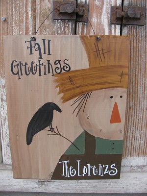 Primitive Scarecrow Personalized Autumn Fall Hand Painted Wooden Sign