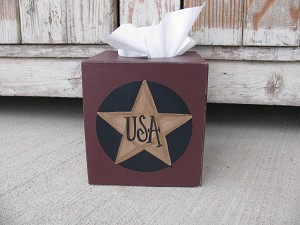 Primitive Patriotic Americana Star Hand Painted Tissue Box Cover