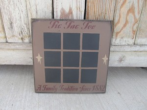 Primitive Tic Tac Toe Game Board with Chalk Board Painted Squares