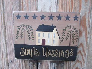 Primitive Hand Painted Saltbox House Willow Trees and Stars Horizontal Personalized Wooden Sign