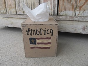 Primitive Americana Patriotic American Flag Hand Painted Tissue Cover Cover with Stars