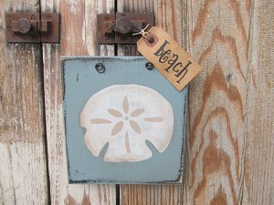 Nautical Beach Coastal Sand Dollar Wooden Sign Plaque