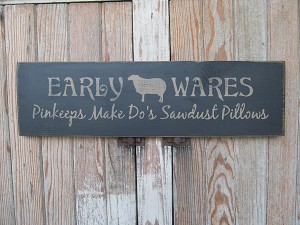 Primitive Early Wares Pinkeeps Make Do's Sawdust Pillows with Sheep Wooden Sign