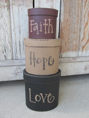 Primitive Hand Painted Faith Hope Love Set of 3 Oval Stacking Boxes