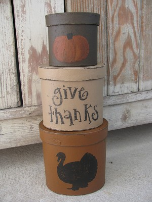 Primitive Turkey Thanksgiving Hand Painted Set of 3 Oval Stacking Boxes