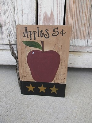 Primitive Country Apple Hand Painted Vintage Book with Stars