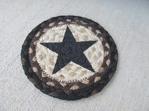 Primitive Country Black Tan and Cream Star Braided Jute Trivet